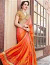 photo of Orange Satin And Georgette Resham Embroidered Function Wear Fancy Saree