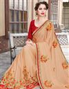 photo of Cream Resham Embroidered Satin And Georgette Function Wear Fancy Saree