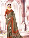 image of Printed Daily Wear Crepe And Art Silk Saree In Dark Khaki