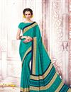 image of Casual Wear Printed Crepe And Art Silk Saree In Cyan