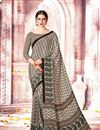 image of Printed Daily Wear Crepe And Art Silk Saree In Dark Beige