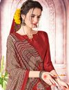 photo of Printed Daily Wear Crepe And Art Silk Saree In Rust