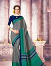 image of Casual Wear Printed Crepe And Art Silk Saree In Grey