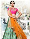 image of Fashionable Green Color Embroidered Designer Lehenga Choli In Banarasi And Jacquard Fabric