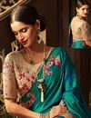 photo of Embroidered Silk Teal Sangeet Wear Saree With Blouse