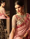 photo of Embroidered Pink Silk Designer Saree With Blouse