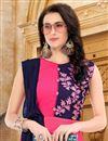 photo of Embroidery Designs On Rani Color Georgette Fabric Festive Wear Kurti