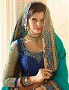 photo of Attractively Embroidered Satin And Silk Fabric Function Wear Saree In Cyan And Blue Color With Party Wear Blouse