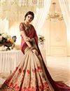 photo of Occasion Wear Saree In Pink And Beige Color Satin And Silk Fabric With Attractive Embroidery Work And Designer Blouse