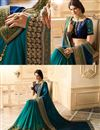 photo of Blue And Cyan Color Satin And Silk Fabric Wedding Wear Gorgeously Embroidered Saree With Beautiful Blouse