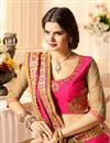 photo of Chiffon And Silk Fabric Pink And Golden Color Saree With Beautiful Thread Zari And Embroidery Work And Attractive Desginer Blouse
