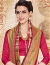 photo of Magnificent Pink And Cream Color Cotton Saree With Fancy Print Work