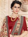 photo of Printed Classic Cream Color Party Wear Saree With Unstitched Cotton Blouse