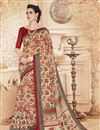 image of Printed Classic Cream Color Party Wear Saree With Unstitched Cotton Blouse