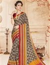 image of Magnificent Brown And Beige Color Cotton Saree With Fancy Print Work