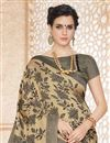 photo of Striking Cream Color Party Wear Printed Saree In Cotton Fabric
