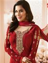 photo of Sophie Choudry Red Color Crepe Fabric Straight Cut Embellished Churidar Salwar Suit