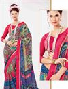 photo of Multi Color Beautiful Georgette Saree With Fancy Print Work