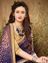 photo of Casual Style Georgette Navy Blue Printed Saree With Lace