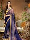 image of Casual Style Georgette Navy Blue Printed Saree With Lace