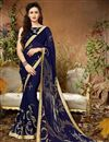 image of Navy Blue Georgette Printed Casual Wear Saree With Lace Border