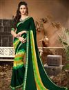 image of Georgette Officewear Printed Saree In Dark Green With Lace