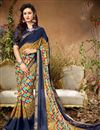 image of Printed Casual Wear Cream Georgette Saree With Lace