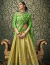 image of Designer Wedding Function Wear Green Color Banarasi Silk Embroidered Lehenga Choli