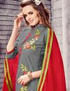 photo of Designer Stright Cut Grey Color Attractively Embroidered Salwar Suit In Cotton Fabric