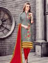 image of Designer Stright Cut Grey Color Attractively Embroidered Salwar Suit In Cotton Fabric