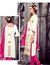 photo of Lovely Off White Color Party Wear Designer Cotton Suit With Artistic Embroidery Work