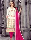 image of Lovely Off White Color Party Wear Designer Cotton Suit With Artistic Embroidery Work