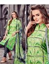 photo of Ravishing Green Designer Cotton Suit With Embroidery Work