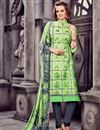 image of Ravishing Green Designer Cotton Suit With Embroidery Work