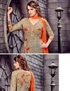 photo of Captivating Cotton Fabric Party Wear Embroidered Salwar Suit In Beige Color