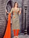 image of Captivating Cotton Fabric Party Wear Embroidered Salwar Suit In Beige Color