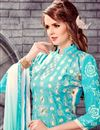 photo of Beautiful Cyan Color Long Length Embroidered Salwar Suit In Cotton Fabric