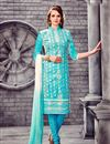image of Beautiful Cyan Color Long Length Embroidered Salwar Suit In Cotton Fabric