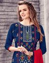 photo of Designer Stright Cut Blue Color Attractively Embroidered Salwar Suit In Cotton Fabric