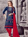 image of Designer Stright Cut Blue Color Attractively Embroidered Salwar Suit In Cotton Fabric