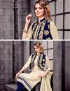 photo of Captivating Cotton Fabric Party Wear Embroidered Salwar Suit In Cream Color