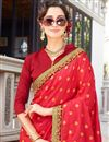 photo of Embellished Function Wear Red Art Silk And Georgette Half Half Saree With Lace