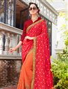 image of Wedding Wear Art Silk And Georgette Red Half Half Saree With Lace Work