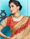 photo of Cream Fancy Function Wear Georgette And Jacquard Half Half Saree With Lace Border
