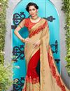 image of Cream Fancy Function Wear Georgette And Jacquard Half Half Saree With Lace Border