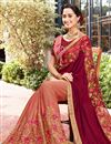 photo of Wedding Function Wear Art Silk And Chiffon Embroidered Half Half Saree In Burgundy