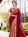 image of Wedding Function Wear Art Silk And Chiffon Embroidered Half Half Saree In Burgundy