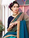 photo of Sky Blue Art Silk And Jacquard Function Wear Half Half Saree With Lace Border