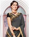 photo of Georgette And Jacquard Black Embroidered Wedding Wear Half Half Saree With Lace