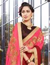 photo of Embellished Function Wear Georgette Pink Half Half Saree With Lace